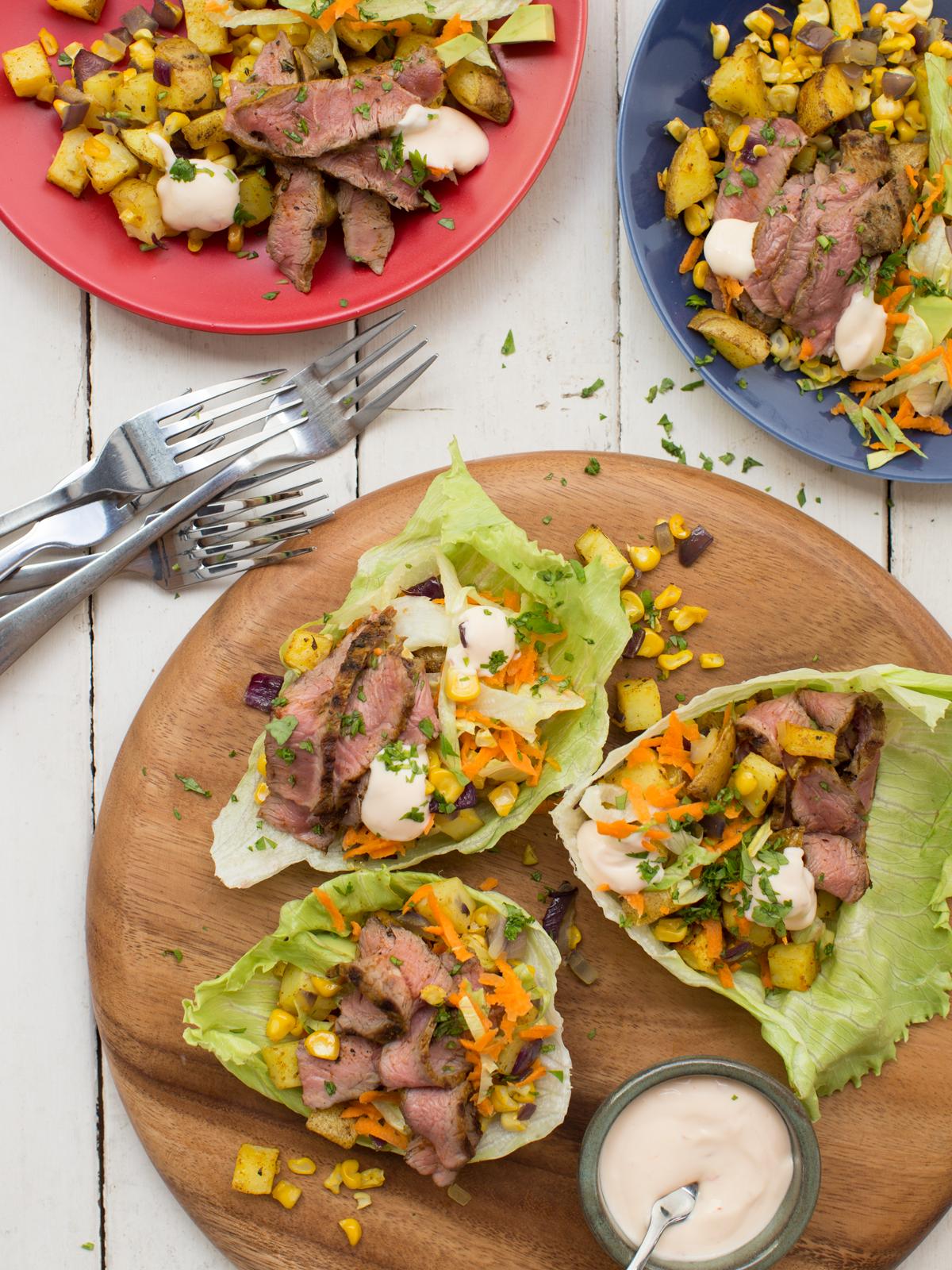 Mexican Lamb with Potato, Corn and Salad