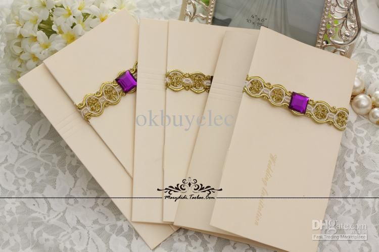 Trifold Shimmering Pearl Wedding Invitation Cards Invites