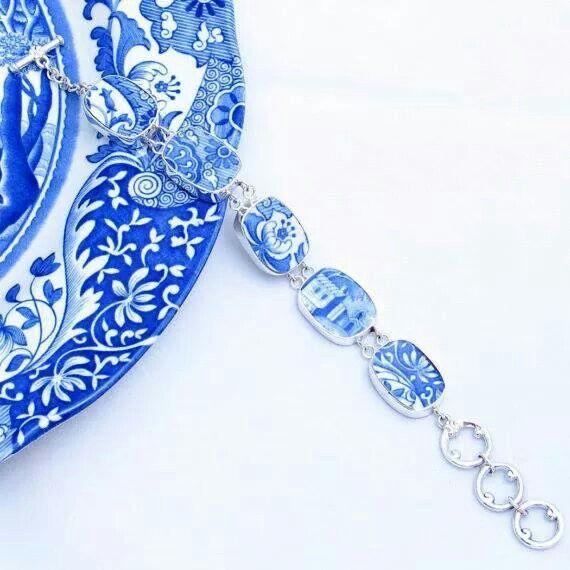 Blue & white china bracelet
