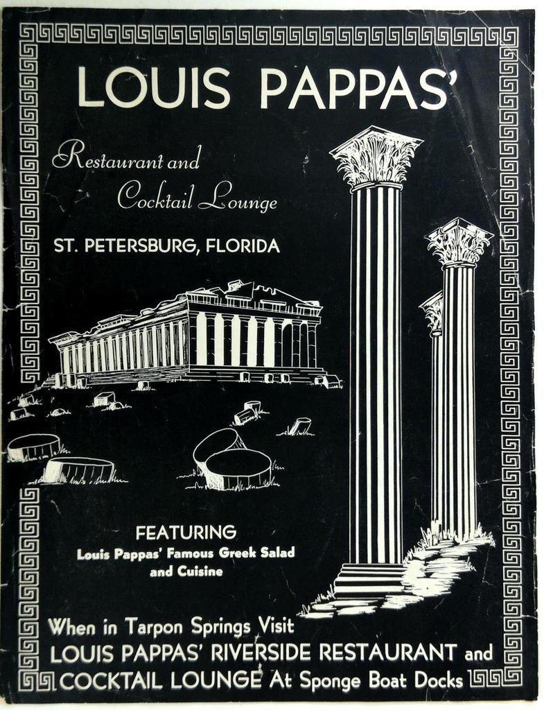 1950's Menu LOUIS PAPPAS Restaurant & Cocktail Lounge St