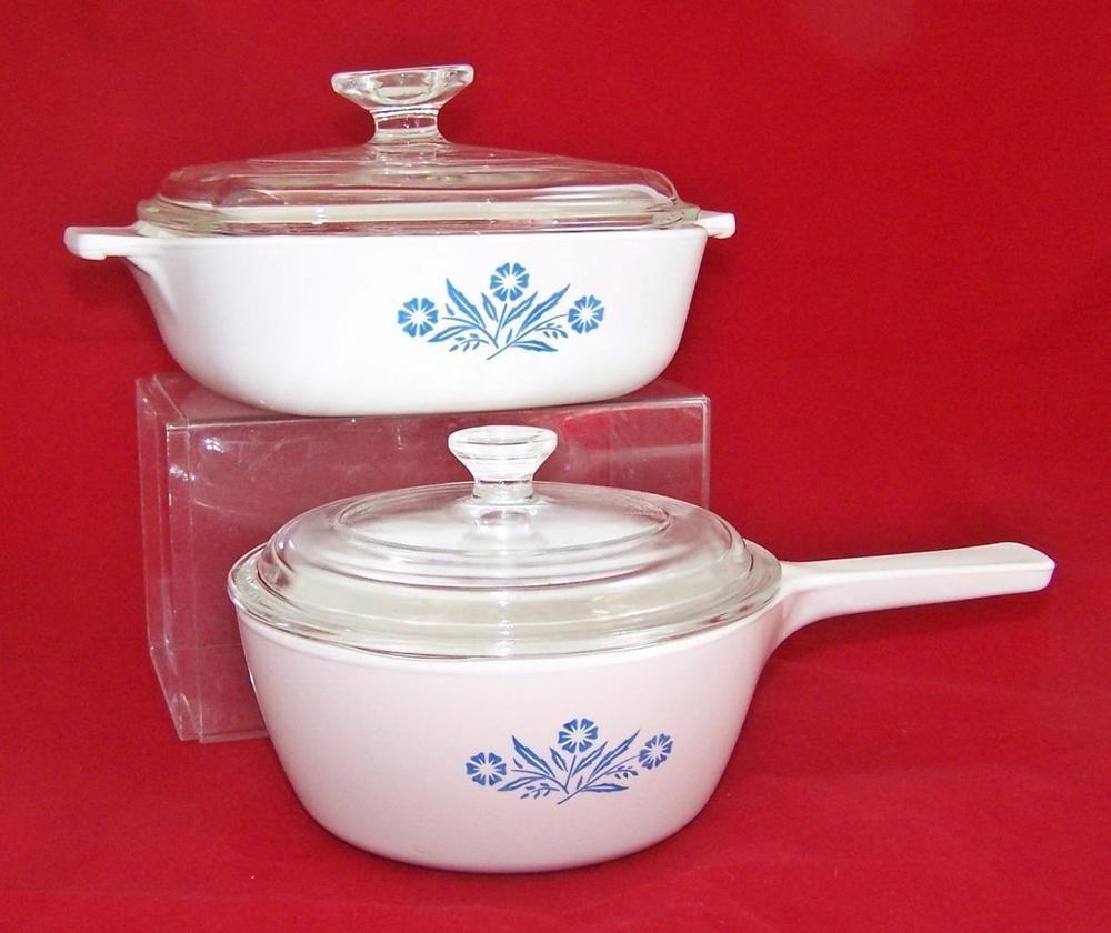 Corningware Range Oven And Microwave: 4 Pcs Corning Ware Blue Cornflower Casserole & Pot With