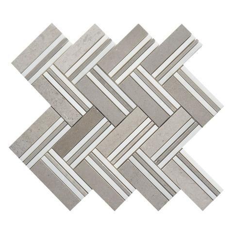 Cinderella Grey & White Marble Herringbone Mosaic Polished | Natural ...
