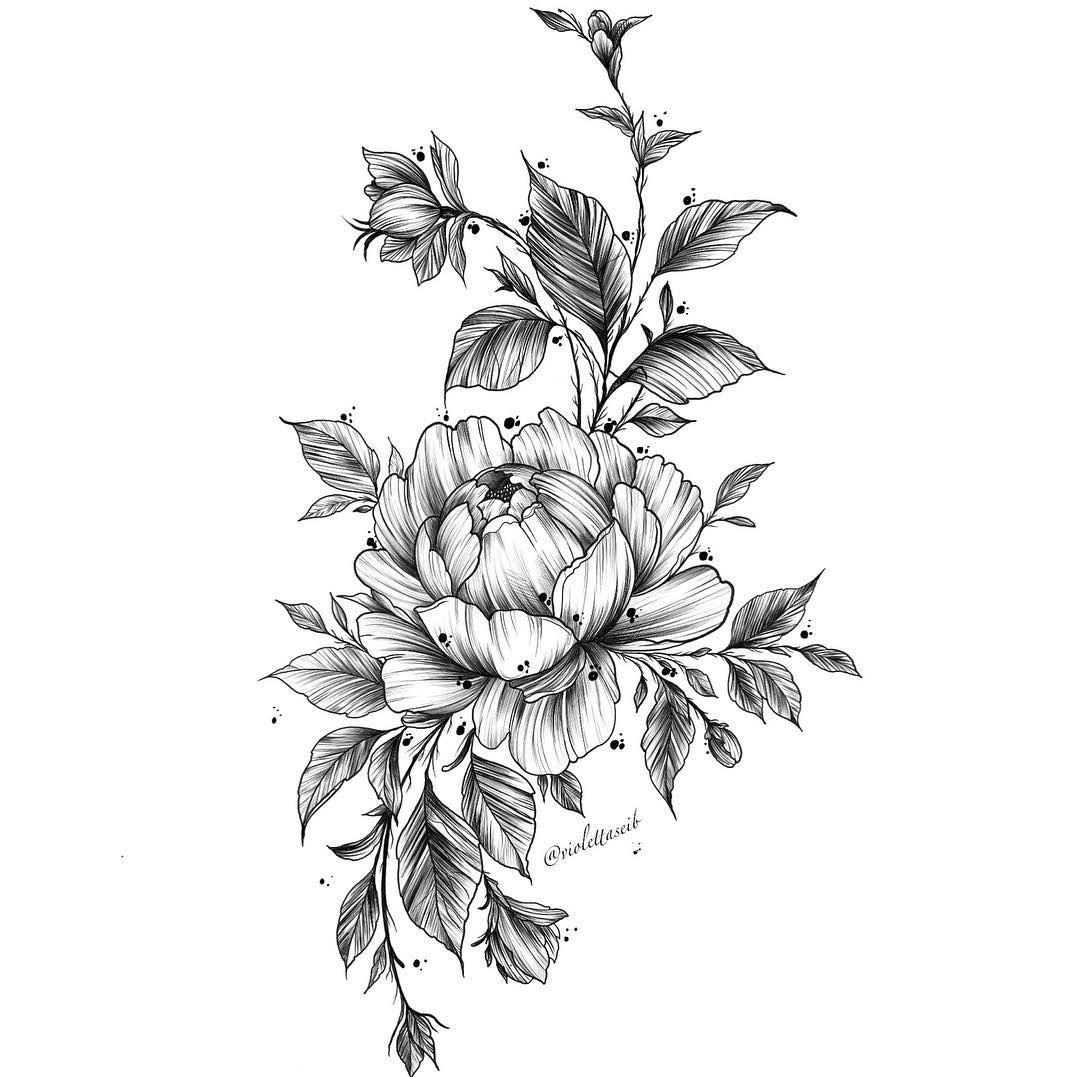 Днем рождения, картинки для тату черно белые цветы