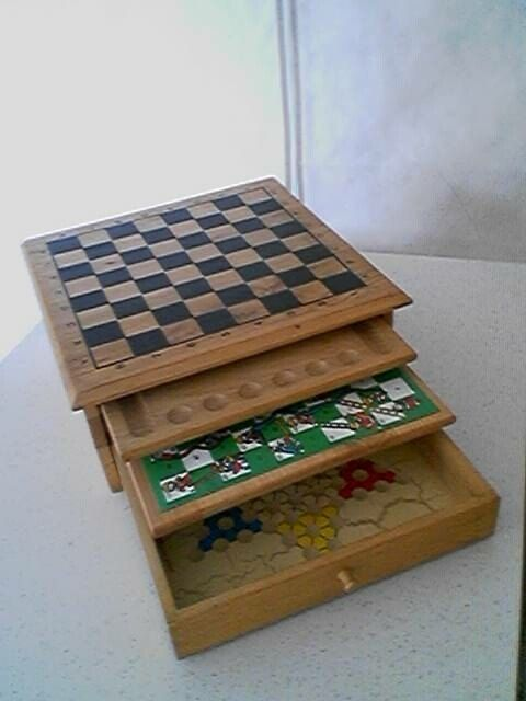 Vintage 1980s Wood Box With 2 Slide Out Boards And By Hollister54