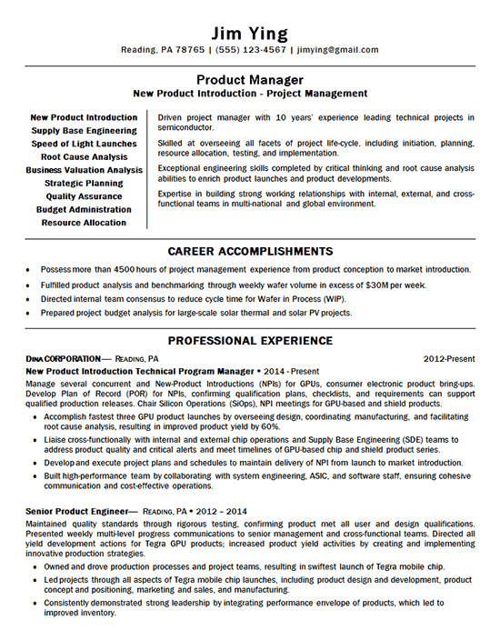 New Product Manager Resume Examples Manager Resume Job Resume Samples