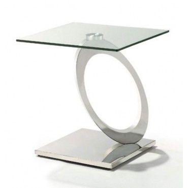 Ordinaire Modern Glass And Chrome End Table Bari