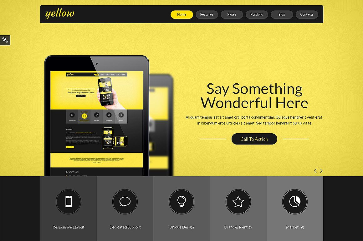 Yellow Bootstrap Responsive Template Responsive layout