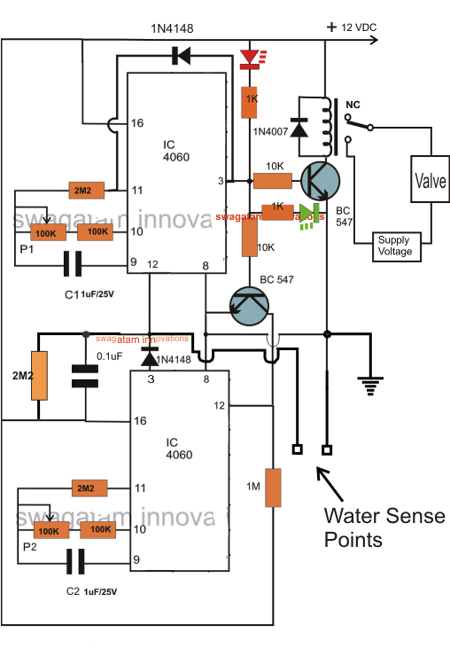 Water Flow Valve Timer Controller Circuit | Homemade Circuit ...
