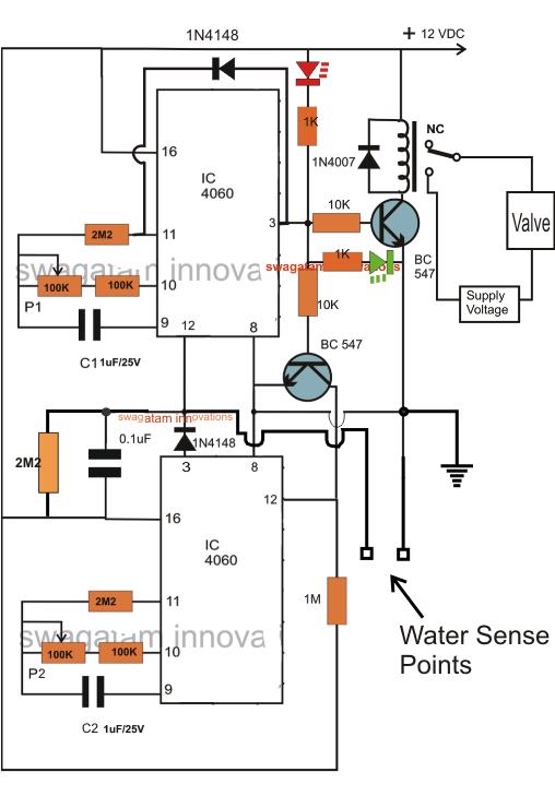 Water Flow Valve Timer Controller Circuit | Homemade