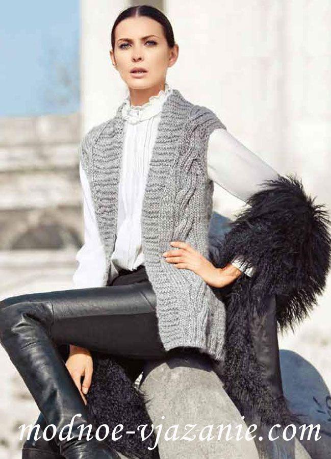 длинный жилет без застежки Dziewiarstwoknitting вязание