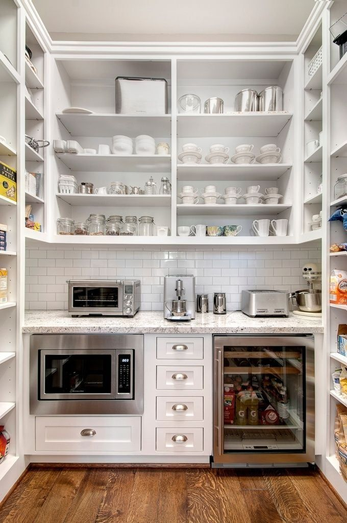 What A Walk In Pantry I Like The Notion Of Putting Drink Fridge And Counter Top Toaster To Keep It Out Main Kitchen Area
