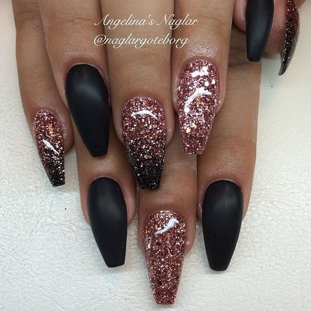 Matte Black White With Silver Glitter Black Nails With Glitter Nails Trendy Nails