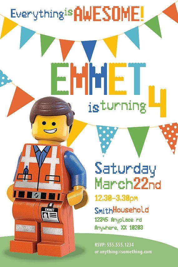 The Lego Movie Emmet Theme Birthday Invitation Por Ciciandbobos