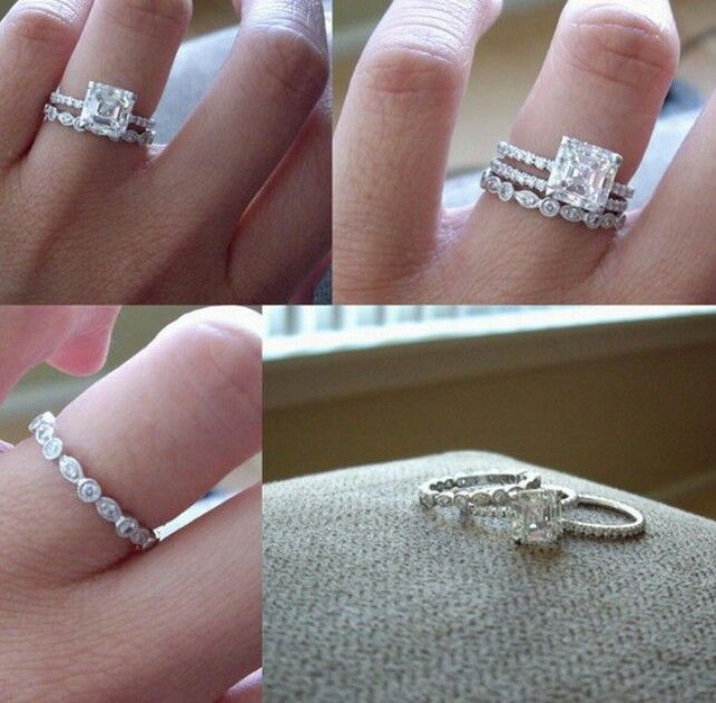 Engagement Ring Wedding Band Then Ring For First Child Stacked