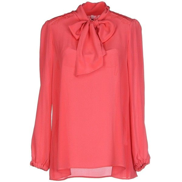 Scee By Twin-set Blouse ($153) ❤ liked on Polyvore featuring tops, blouses, coral, pussy bow blouse, lacy tops, scee, red top and long sleeve red blouse