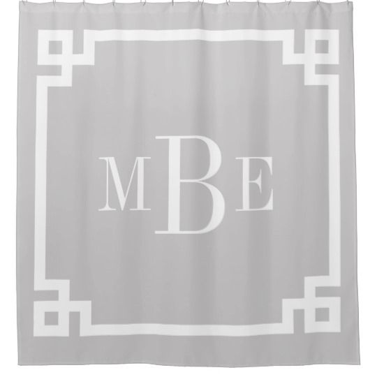 Gray Greek Key Border Monogram Shower Curtain