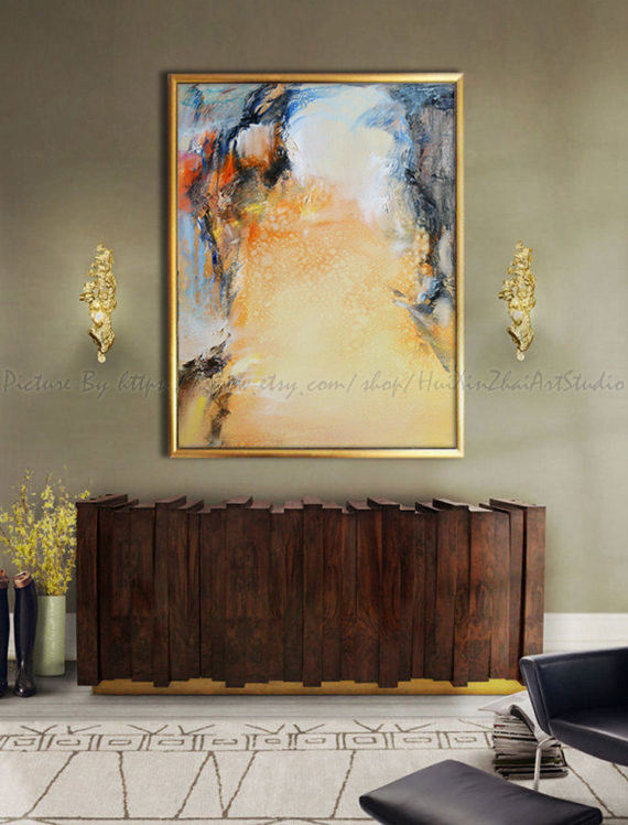 Abstract Painting Contemporary Art Living Room Wall Extra Large Yellow La