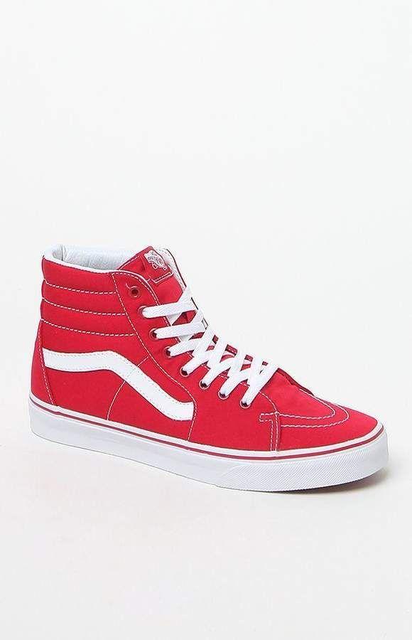 84692d4f4e Vans Canvas Sk8-Hi Red Shoes