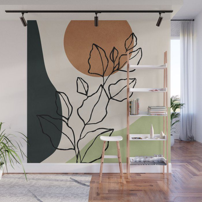 Abstract Art /minimal Plant 6 Wall Mural by Thingd