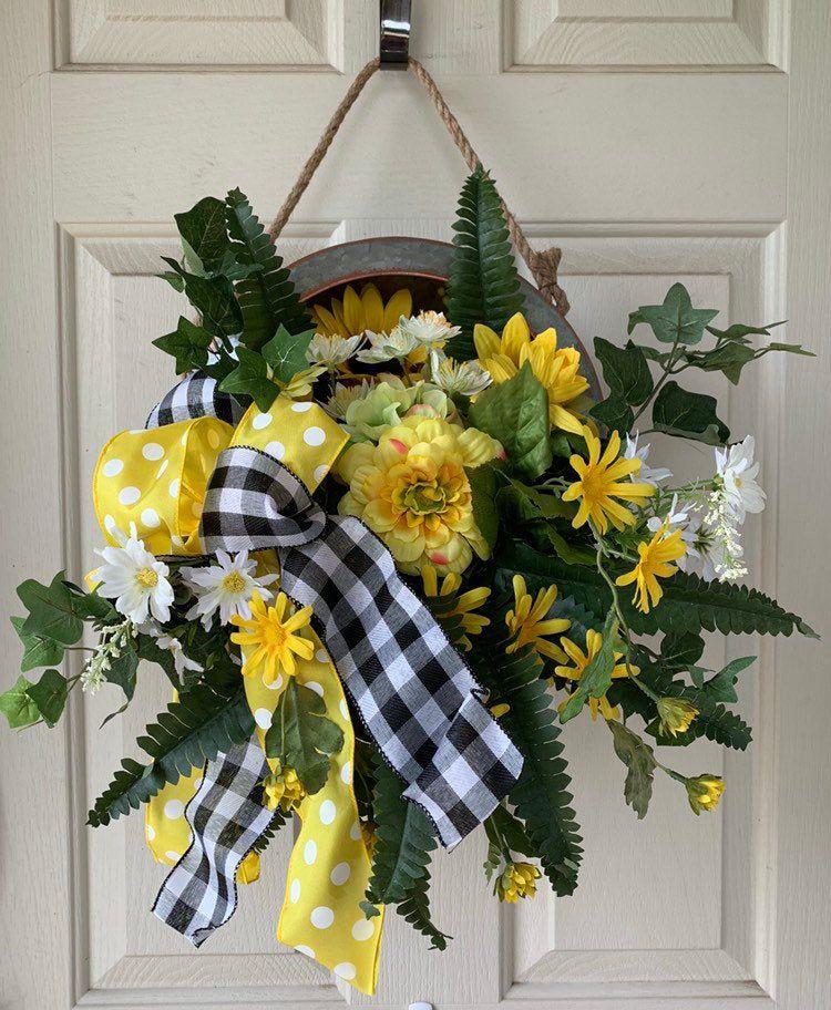 Galvanized Tire Swing Wreath, Sunflower Tire Swing Decor, Farmhouse Front Door Hanger #tireswing