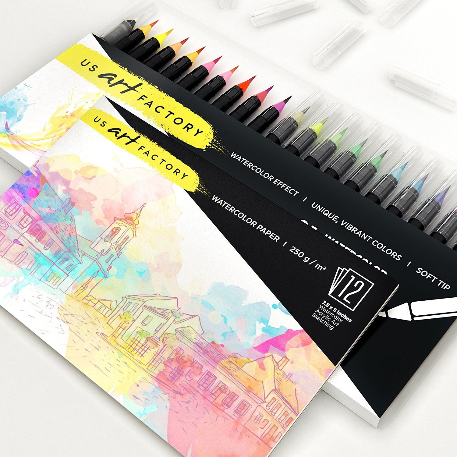 Amazon Com Us Art Factory Watercolor Markers Brush Pens With