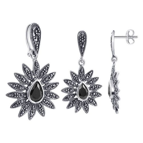 .925 Sterling Silver Pear Shaped Black Onyx Cubic Zirconia and Marcasite Accents Post Back Findings Stud 17mm x 19mm Earrings and 19mm x 22mm Pendant Jewelry Set