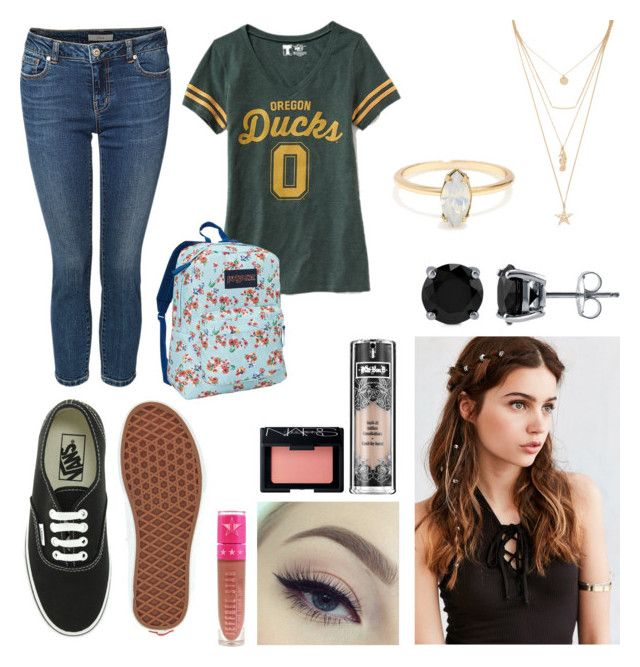 """""""Back To School Inspiration"""" by gracerhianna on Polyvore featuring Dex, Old Navy, Vans, JanSport, REGALROSE, BERRICLE, Kat Von D, NARS Cosmetics, Jeffree Star and Forever 21"""