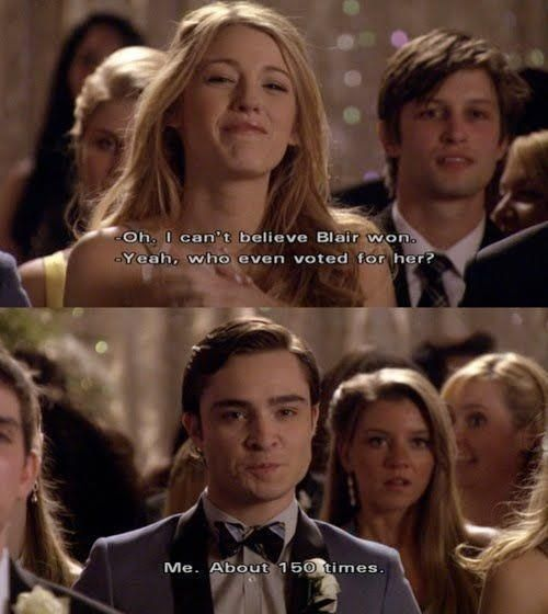 How To Find Your Chuck Bass | Her Campus--8. Along with that, they saw the good in each other as well. Your Chuck Bass will encourage you to be the best version of yourself and support you when you're feeling down. 9. Lastly, don't settle if he doesn't treat you like a princess. Chuck Bass would go to extreme lengths just to make Blair smile. Remember when he rigged the votes at prom so she'd be queen? Awww.
