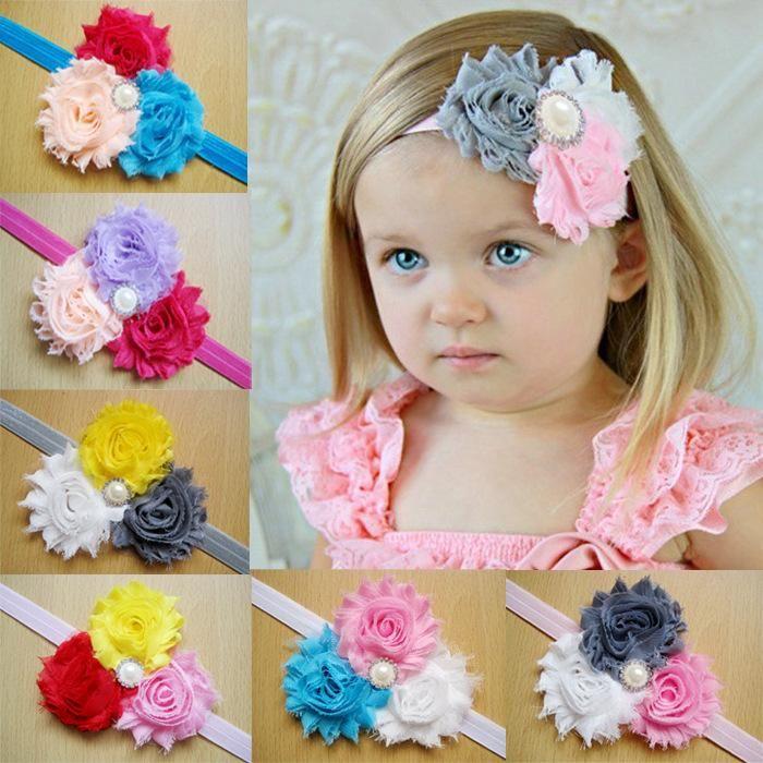 Newborn Baby Girl Kid Pearl Headband Rose Lace Flower Elastic Hair Band Bow