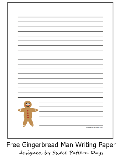 Cute Gingerbread Man Lined Paper  Education