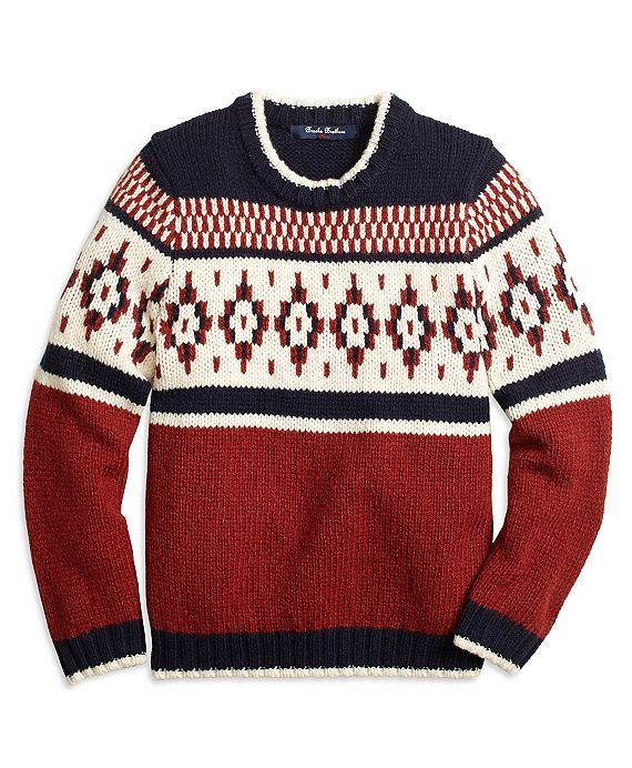 Our sweater is crafted in a wool blend and features a novelty Fair ...