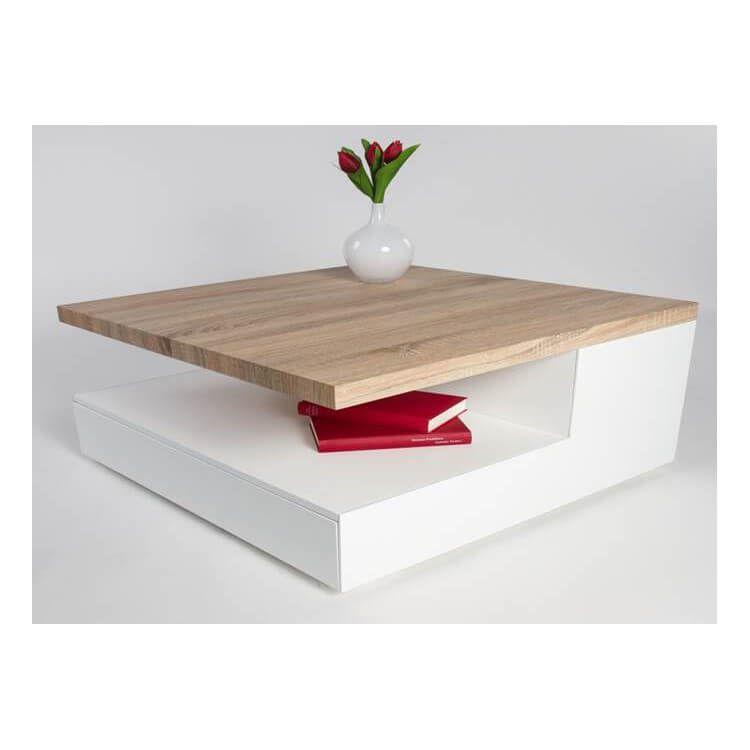 Table Basse Design En Bois Blanc Laque Chene Clair Valero Table