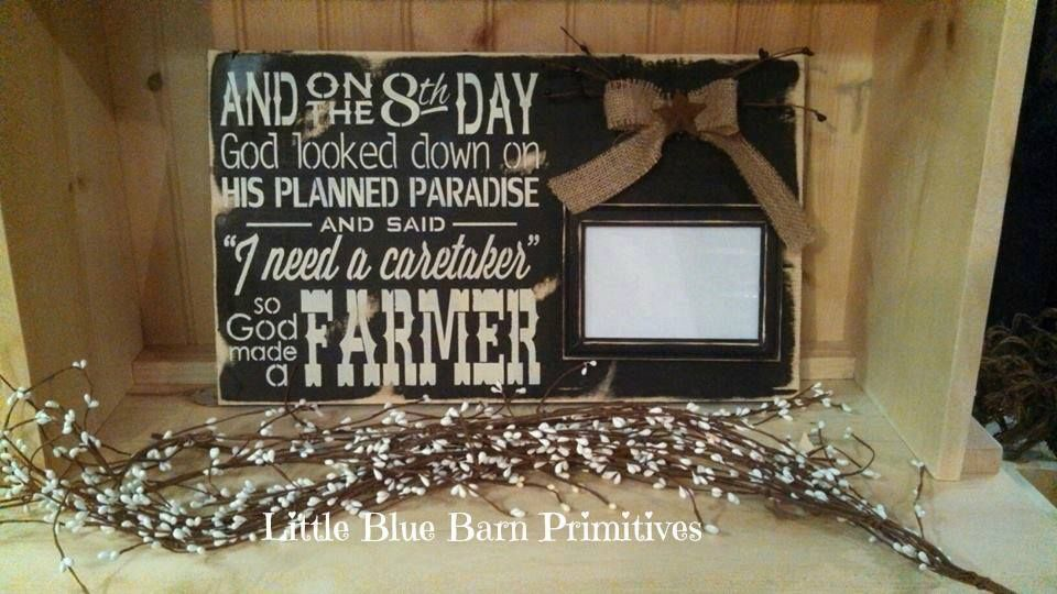 So God Made A Farmer Wooden Sign With Photo Frame