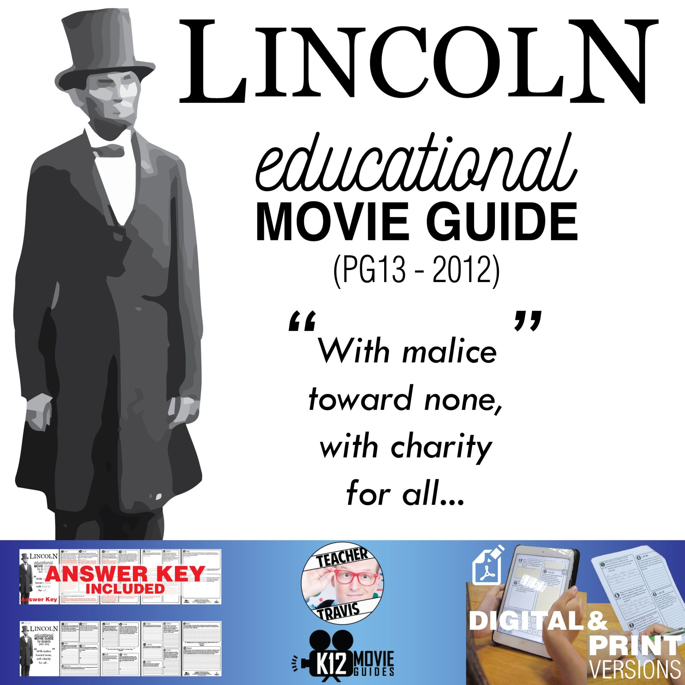 Lincoln Movie Guide Questions Worksheet Pg13
