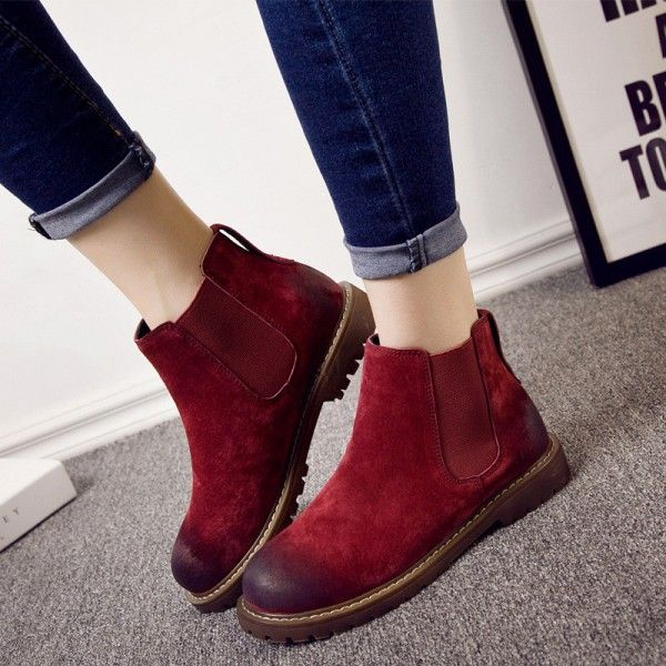 Warm Winter Boots Pure Leather Ankle Boots Slip On Creepers Casual Flat  Heel Female Shoes Ladies