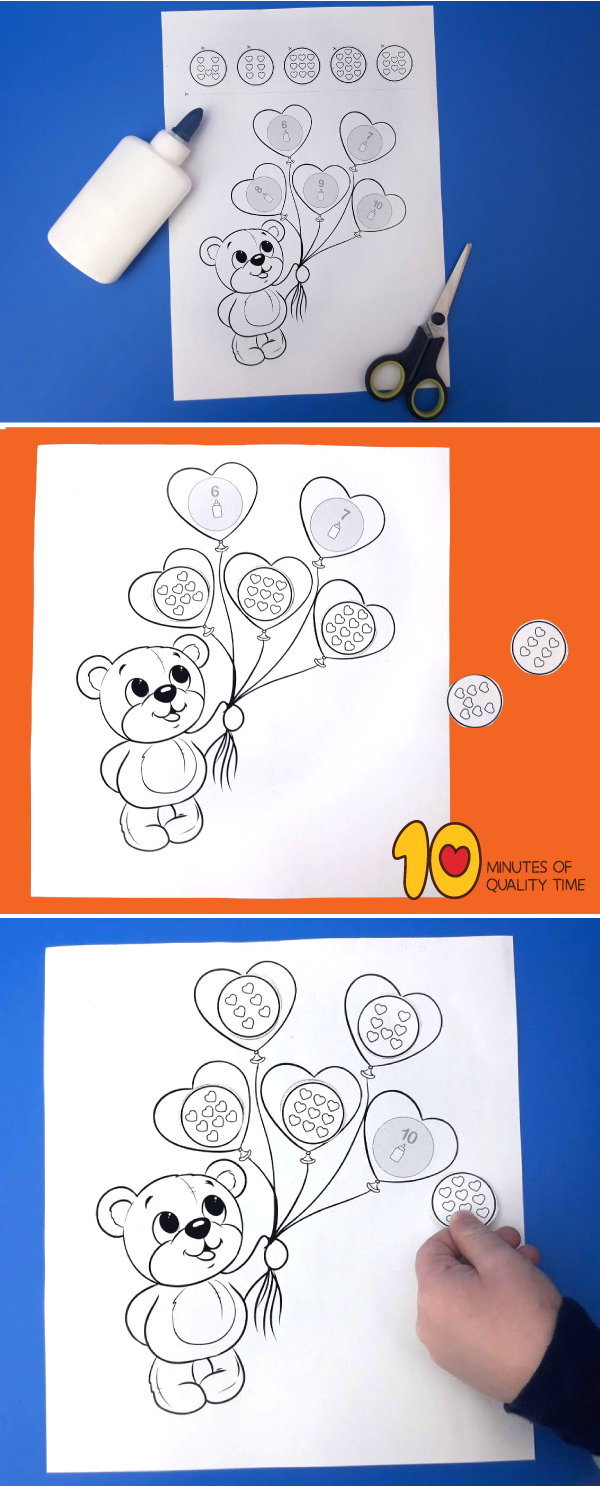 Numbers 6 10 Worksheet Teddy Bear Holding Balloons Balloons Fun Activities For Kids Easy Arts And Crafts [ 1486 x 600 Pixel ]