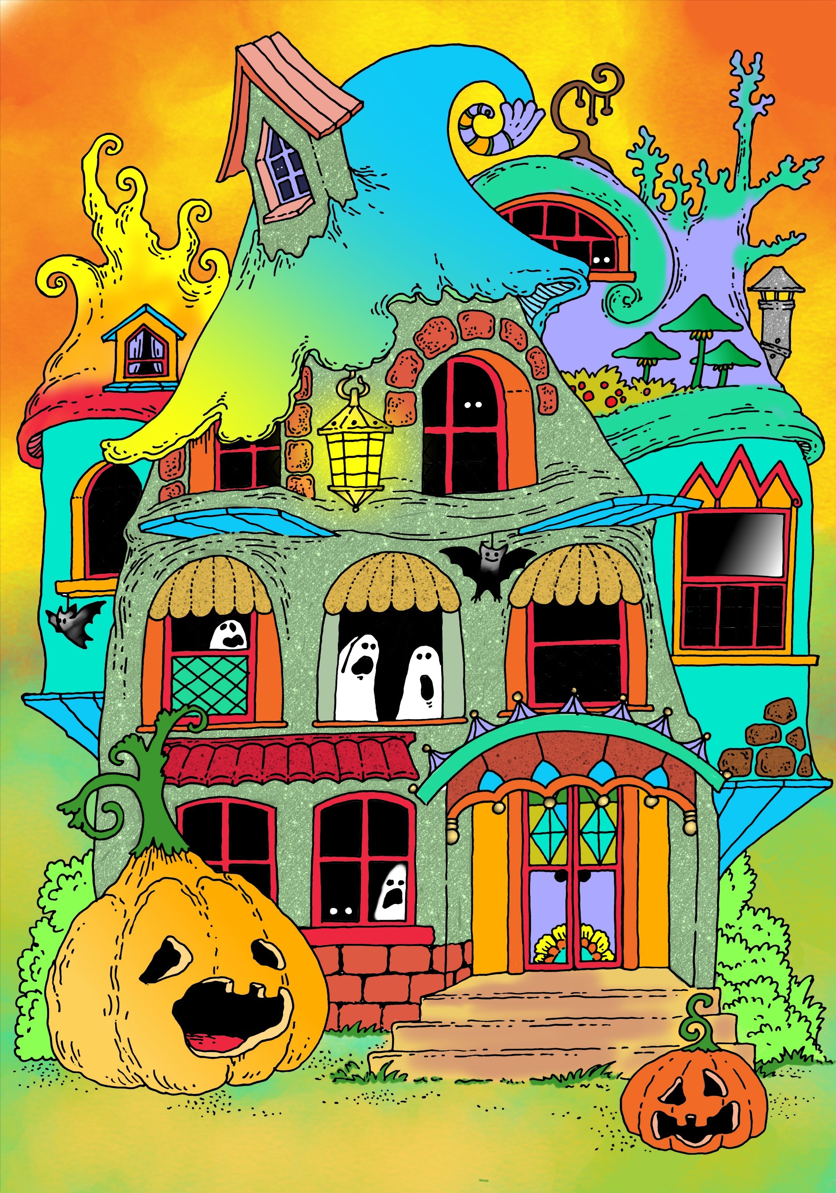 Book Nice Little Town Halloween By Tatiana Stolova Bogema Digitally Colored Using Pigment App On Ipad Pro Coloring Books Coloring Book Pages Color