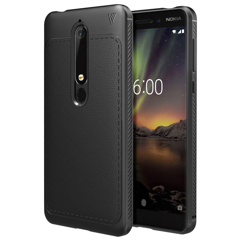 MoKo Nokia 6.1 Coque,Étui de Protection en Cuir PU + TPU