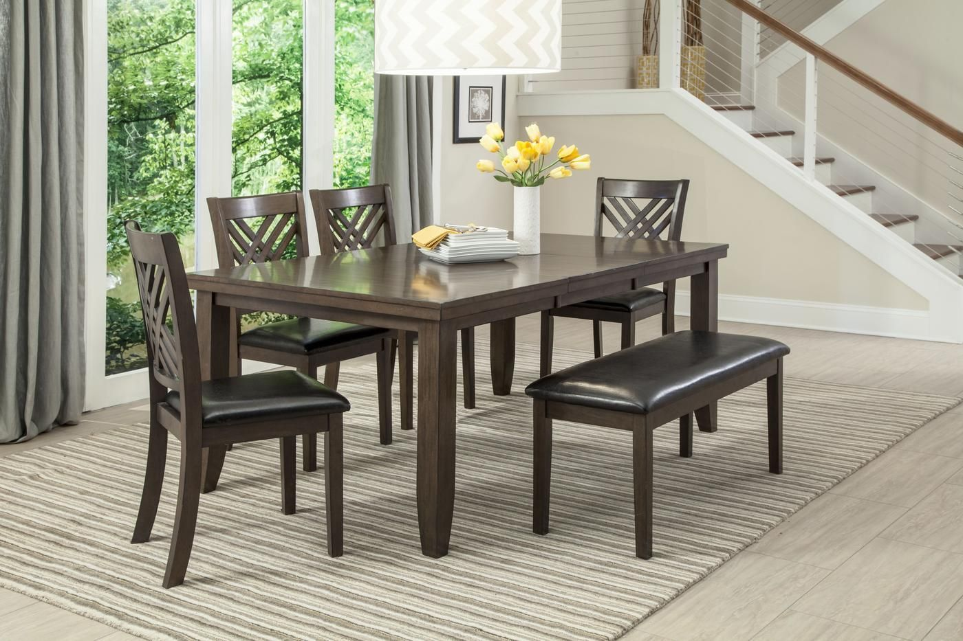 Lebaron Espresso 6 Piece Dinette Table 4 Chairs And Bench Made