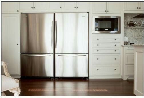 Two Fridges Next To Each Other In New Kitchen Fridge Design Condo Kitchen White Modern Kitchen