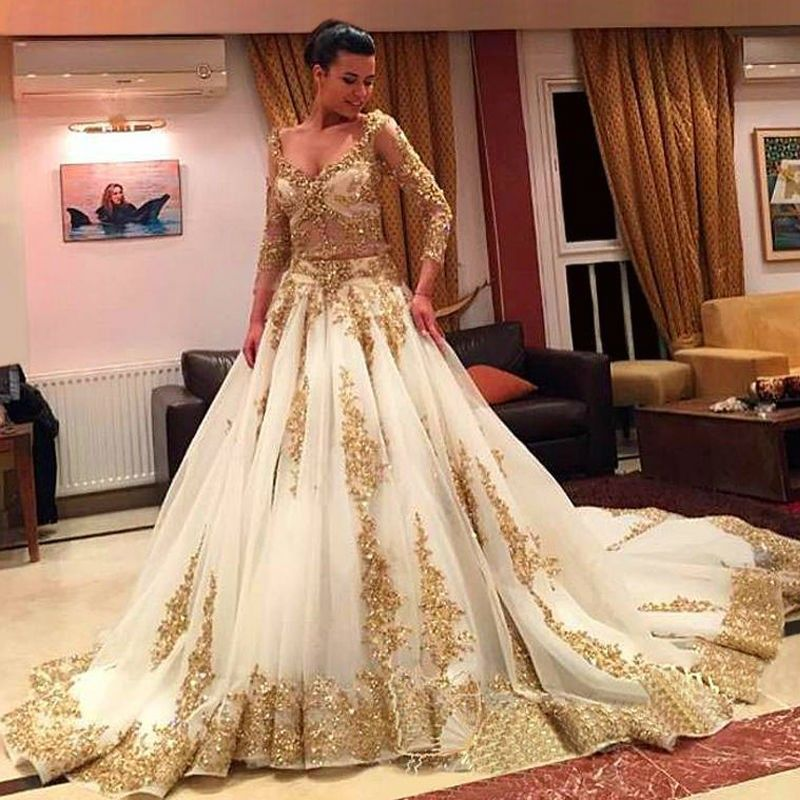 Two Pieces Wedding Dresses Gold and Ivory Arabic Beads Luxury V