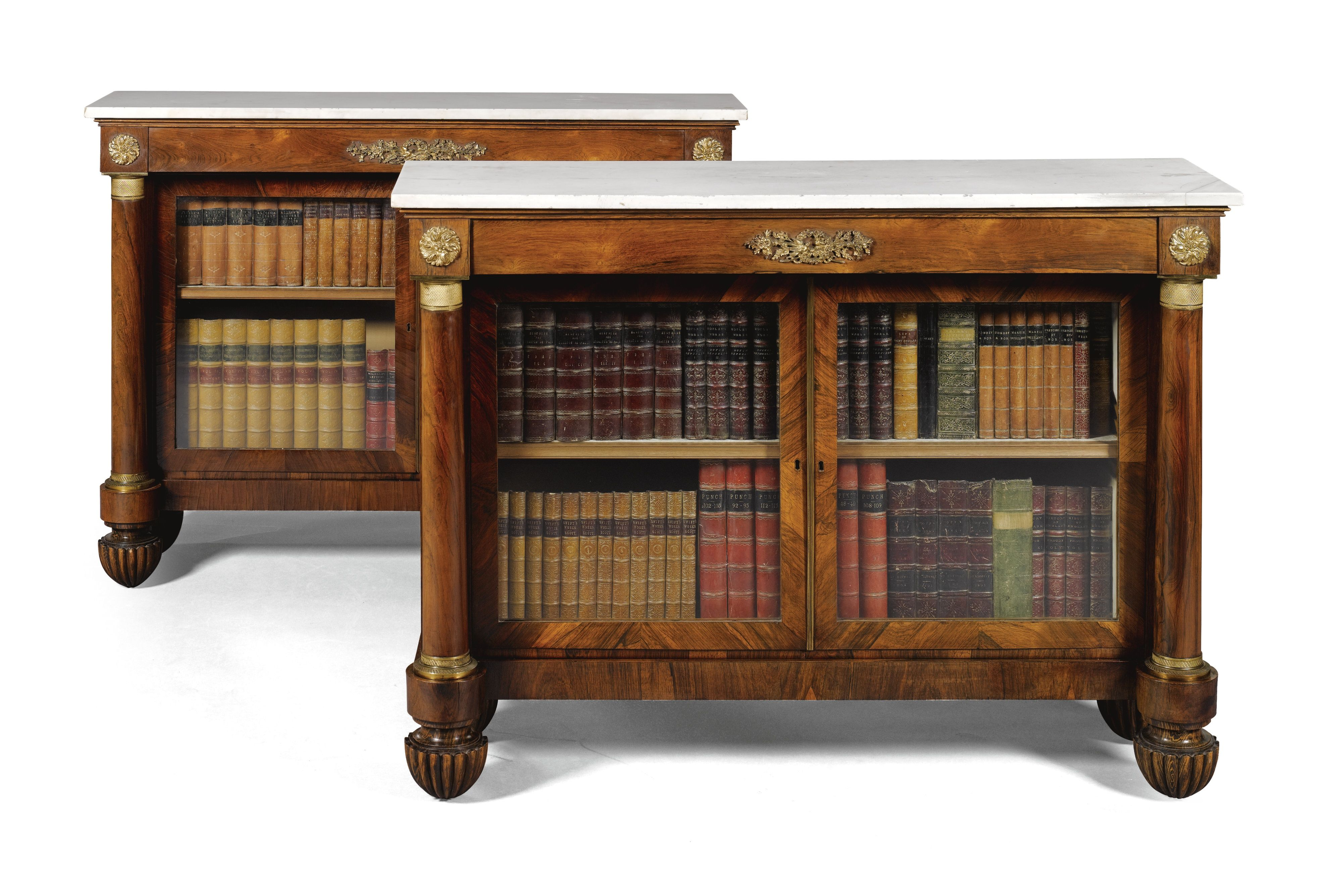 A pair of Regency rosewood side cabinets br circa 1820