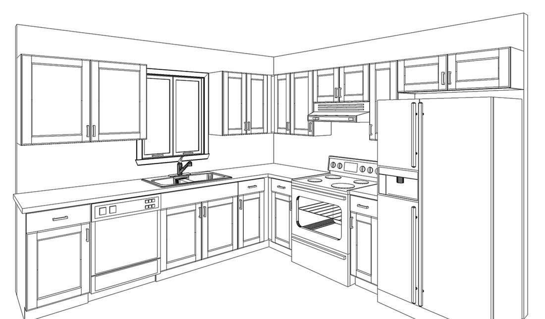 draw kitchen cabinets rooms learn how furniture step drawing | Home ...