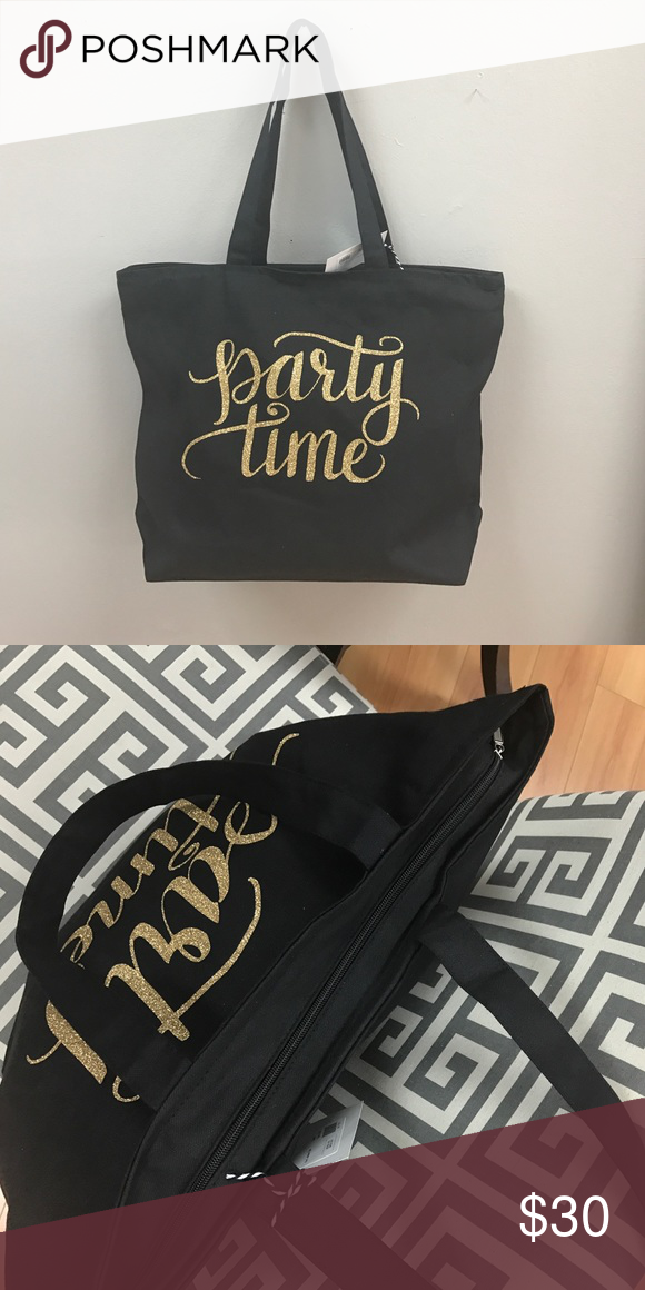 """Hand Lettered """"Party Time"""" Black Tote Hand Lettered """"I Sweat Glitter"""" Black Tote with zipper Bags Totes"""