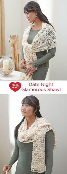 Date Night Glamorous Shawl Free Crochet Pattern In Red Heart Yarns