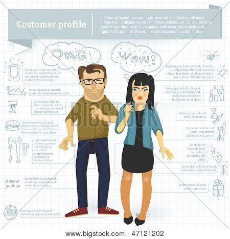 Modelo de vetor infográfico perfil do cliente.