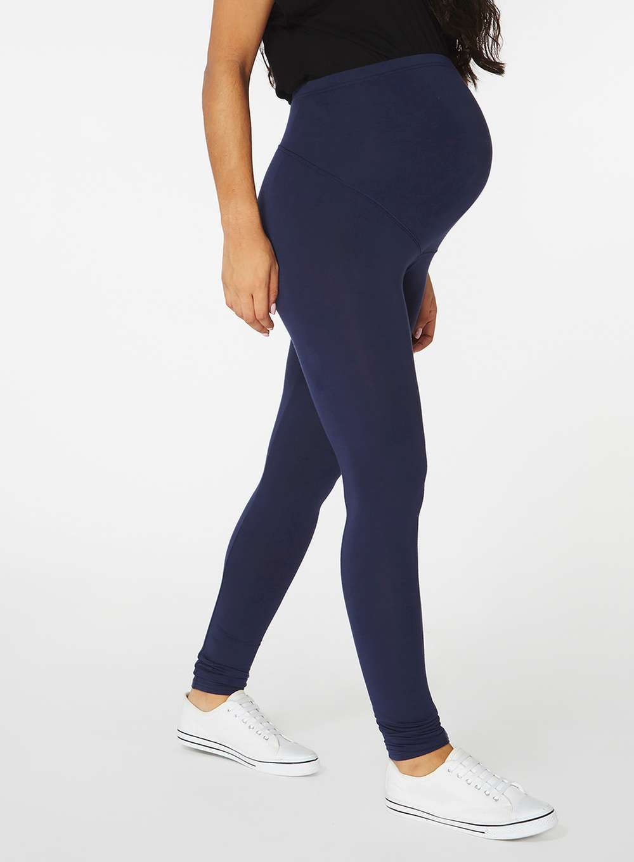 2f0a01c1584e4 Womens **Maternity Navy Blue Overbump Jersey Leggings- Blue ...