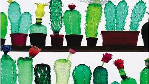 Kaktusy Veronika Richterová vytvořila z nepotřebných pet lahví.
