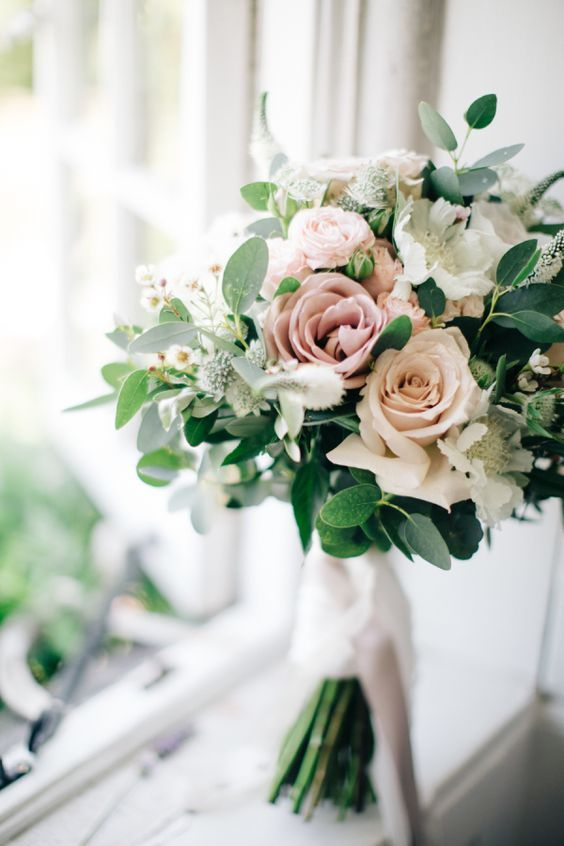 Blush Dusty Pink And White Rose Bouquet With Greenery For A Spring Wedding