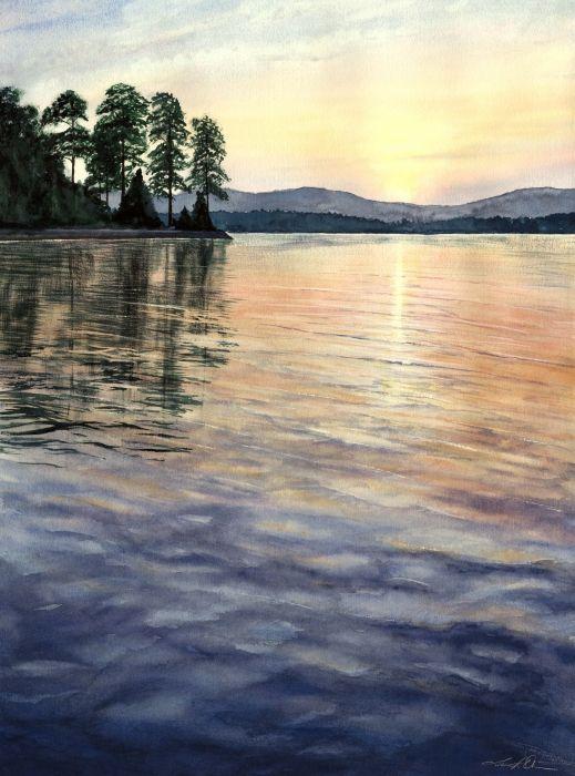Popular Watercolor of Lake Keowee e most beautiful lake I have ever seen Model - Elegant lake painting Simple